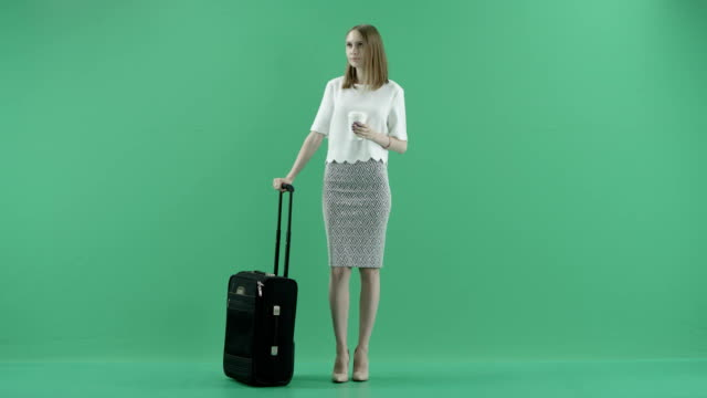 young woman with suitcase video