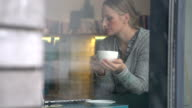 young woman working on a laptop in a cafe video