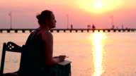 Young woman writing in her diary by the seashore video