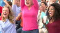 Young Women Cheering At Outdoor Sports Event In Slow Motion video