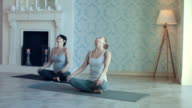 Young Women Doing Yoga Meditation and Stretching Exercises video