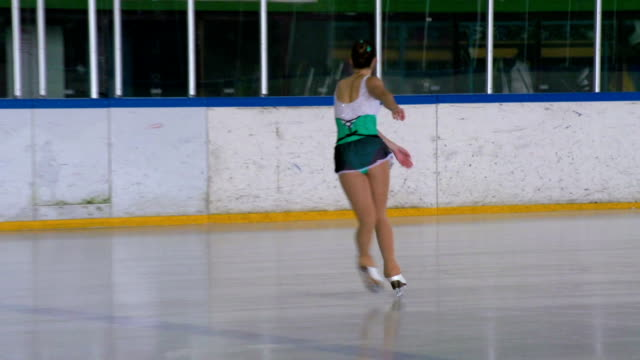 HD: Young Women Figure Skating Indoors video