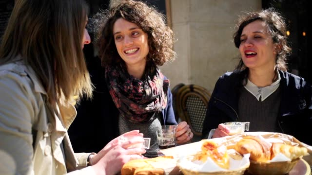 Young Women Friends Meeting at a Paris Cafe video