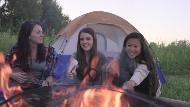 Young Women having a Campfire video
