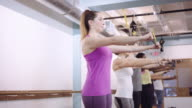 Young women in a fitness class video