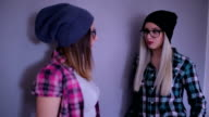 Young women talking indoors video