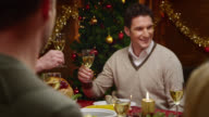 Younger male toasting with family at Christmas table video