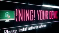 Your device appears to be infected, install antivirus software screen text video