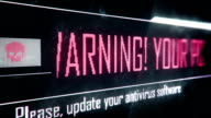 Your PC is under attack, update antivirus software screen text, system message video