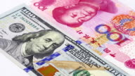 Yuan vs Dollar bank notes rotating concept business background video