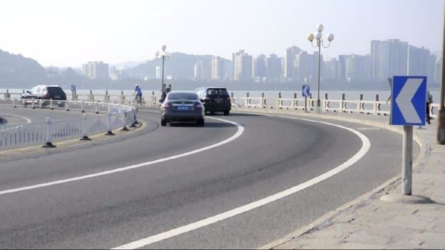 Zhuhai seaside road,landmark Zhuhai city,China video