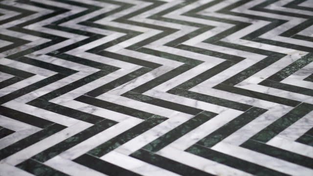 Zigzag black and white marble floor pattern stone video