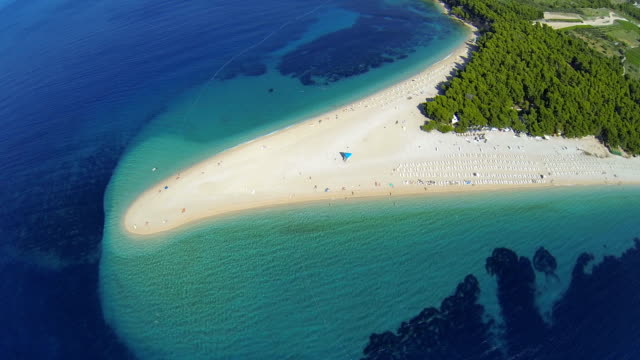 Zlatni rat beach, Bol, Brac island, Dalmatia, Croatia, from drone video