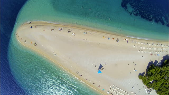 Zlatni rat beach, Bol, Brac island, Dalmatia, Croatia, from drone video