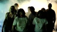 zombie horde stumbles through fog video
