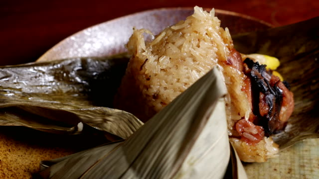 'Zongzi' or 'bakcang', 'bacang' a Chinese traditional food made of glutinous rice video