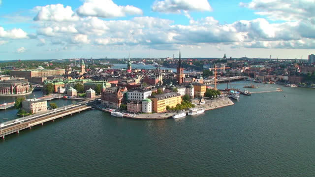 Zoom aerial panorama of Stockholm, Sweden video