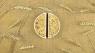 Zoom dish with oat grains and spikelets of wheat lying on sackcloth video