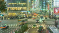 Zoom In Time lapse: Pedestrians cross at Shibuya Crossing in Tokyo , Japan . video