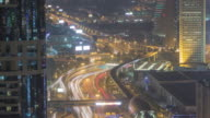 Zoom in time lapse traffic in Dubai at night video