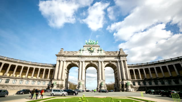HD zoom in time-lapse: Triumphal Arch Cinquantenaire Parc Brussels Belgium video