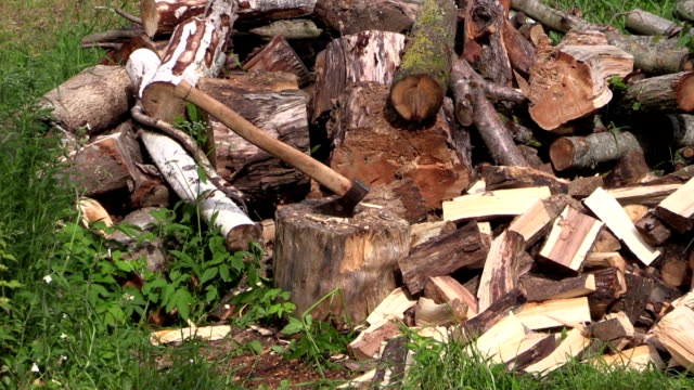 zoom out of axe stuck to stump near to woodpile video