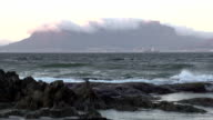 Zoom out of Table Mountain from across the sea, Cape Towm video