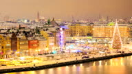 Zoom out Timelapse: Stockholm Cityscape at Night video
