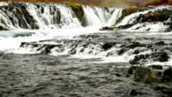 HD Zoom Shot of Bruarfoss Waterfalls and Cascades, South Iceland video