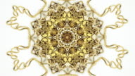 Zooming into gold jewelry kaleidoscope PHOTO video