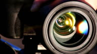 Zooming Lens. Close-up shot of professional camera. HD 1080. video