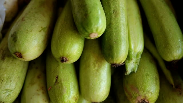 zucchini at the market,close up video