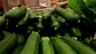 Zuchinni vegetables on display at the grocery store video
