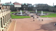 Zwinger Dresden palace in Rococo style, German Royal court place. Beautiful shot of Europe, culture and landscapes. Traveling sightseeing, tourist views landmarks of Germany. World travel, west European trip cityscape, outdoor shot video