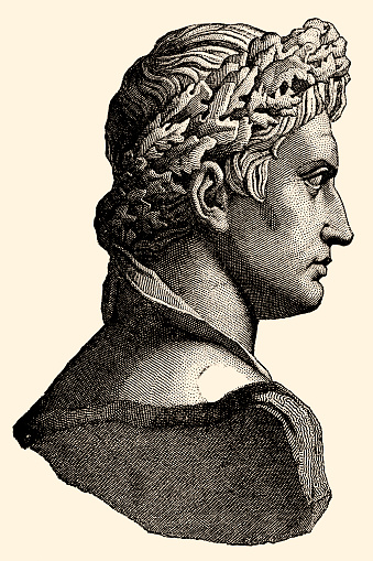 Portrait of CAIUS JULIUS CAESAR OCTAVIANUS AUGUSTUS,son of Caius Octavius and Atia, was born is 63 B.C.He was the first and greatest of the Roman emperors,in his way perharps fully as great as his adoptive father,Julius Caesar. (XXL)