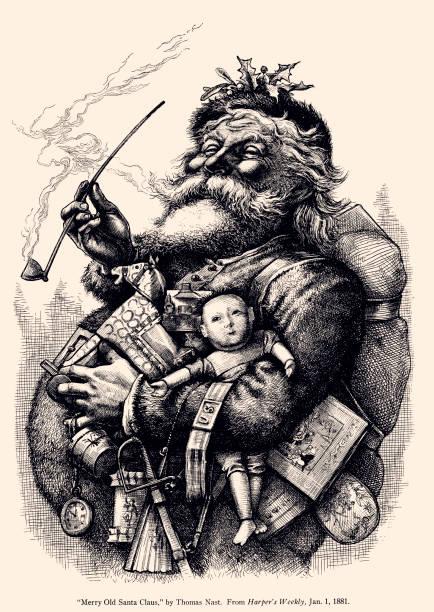 santa claus (xxxl) - old man portrait drawing stock illustrations, clip art, cartoons, & icons