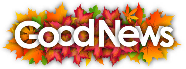 GOOD NEWS good news word and autumn leaves background good news stock illustrations