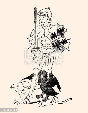 Caricature of Richard Neville (1428-1471) 16th Earl of Warwick KG,known as Warwick the Kingmaker, was an English nobleman, administrator, and military commander. (Warwick displays on his shield the arms of Montagu quartering Monthermer. The bull's head is the crest of the Neville family, the eagle is the crest of Montagu). Vintage etching Circa 19th century.