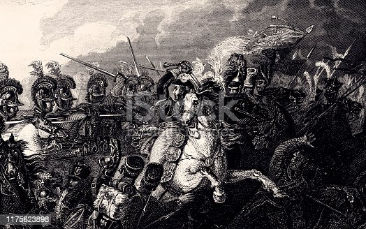 Decisive charge of the Life Guards. Vintage etching Circa late 19th century.