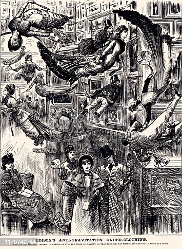 EDISON'S GRAVITATION UNDER-CLOTHING. Vintage etching circa late 19th century.