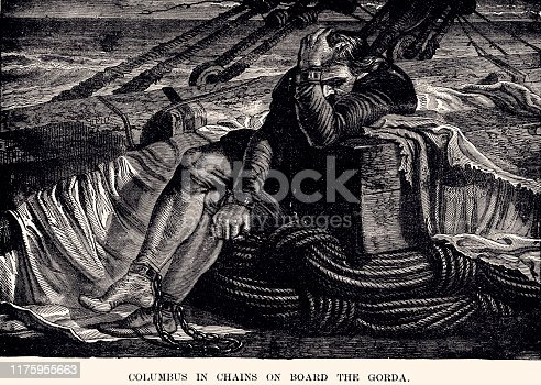 Christopher Columbus in Chains on the Gorda. Columbus returned to Spain in chains in 1500. Vintage etching circa 19th.