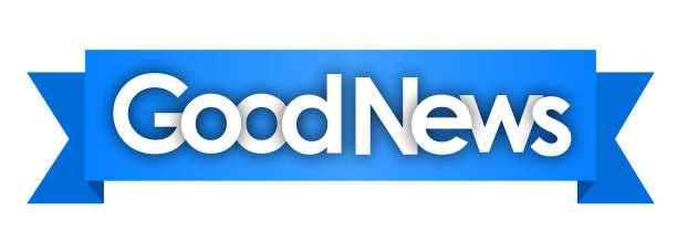 GOOD NEWS good news in blue ribbon background good news stock illustrations