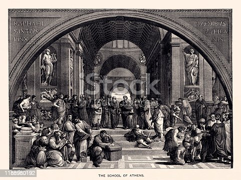 The School of Athens is a fresco by the Italian Renaissance artist Raphael. Vintage etching circa late 19th century