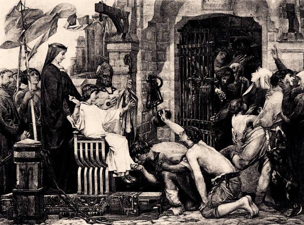 louis ix opens the jails of france (xxxl) - st louis stock illustrations