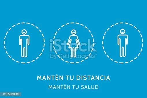 istock ILLUSTRATION IN THE CONCEPT OF SOCIAL DISTANCE FORPREVENT THE CONTACT OF COVID 19 OR CORONAVIRUS. WITH ICONS AND THE PHRASE IN SPANISH, MANTÉN TU DISTANCIA MANTÉN TU SALUD 1215059942