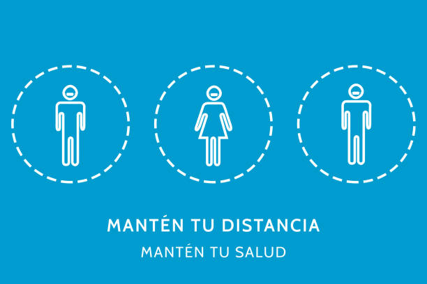 illustration in the concept of social distance forprevent the contact of covid 19 or coronavirus. with icons and the phrase in spanish, mantén tu distancia mantén tu salud - salud stock illustrations