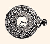 LADY'S POCKET WATCH.\nVintage etching circa late 19th century