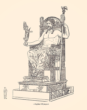 Jupiter or Juppiter,also known as Jove; is the god of the sky and thunder and king of the gods in Ancient Roman religion and mythology. Vintage etching circa late 19th centuryù.