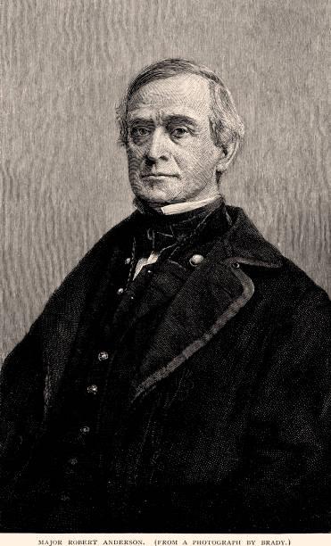 ilustrações, clipart, desenhos animados e ícones de major robert anderson, 1805-1871. (xxxl) - brigadeiro