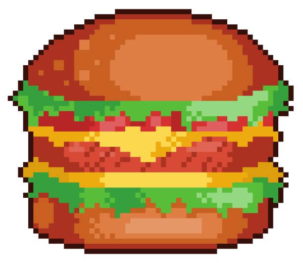 PIXEL ART HAMBURGER FAST FOOD 8BIT WHITE BACKGROUND Pixel Art Hamburger with bread, steak, cheese, lettuce and tomato. 8bit game item on white background pedreiro stock illustrations